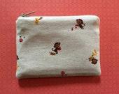 Women's wallet - change purse - zipper pouch - mini card case - monkeys