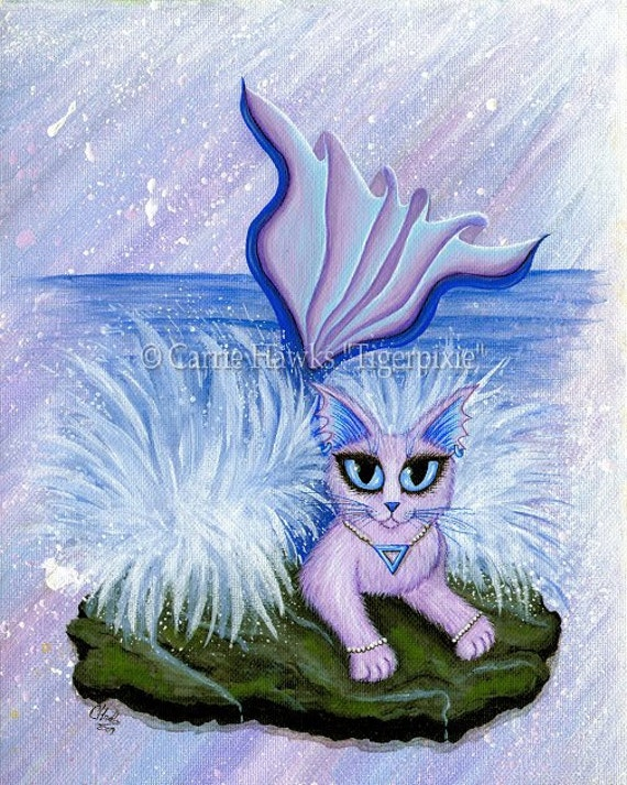 Elemental Fairy Cats Art Mermaid Cat Painting Earth by ...