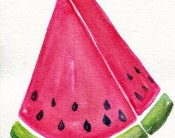Watermelon Watercolors Paintings Original, Original watercolor painting 5 x 7 watermelon, kitchen decor, small fruit art, watermelon artwork