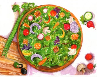 Salad Print, print from my original watercolor painting of tossed salad 8 x 10