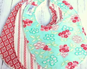 Baby Bibs for Baby Girl - Set of 3 Triple Layer Chenille -  Aqua, Red, Pink - SHABBY FLORALS