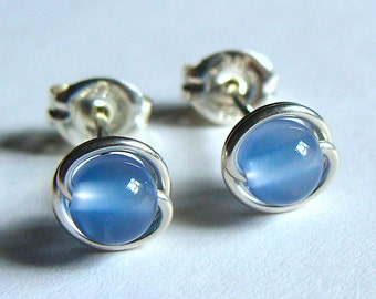 Periwinkle Blue Studs Chalcedony Tiny Studs Earrings Wire Wrapped in Sterling Silver Post Earrings