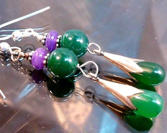 Emerald Green Chalcedony & Purple Jade Earrings Sterling Silver long dangle drops teardrops