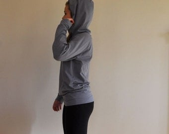 MTM Hoodie Grey Cotton Stretch for Yoga Exercise Top Jumper Jersey Sweater