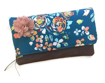 Leather Foldover Teal Blue Clutch Bag, Swifting Floral Brown Leather Pouch, Blue Evening Bag, Leather Clutch Pouch, Zippered Clutch Purse,