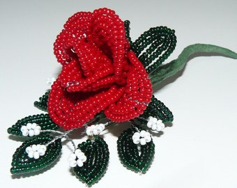 French Beaded Red Rose Brooch