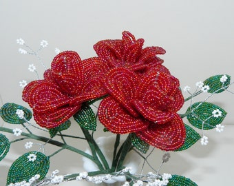Beaded Flowers Bouquet Three Medium Red Roses With Baby's Breath