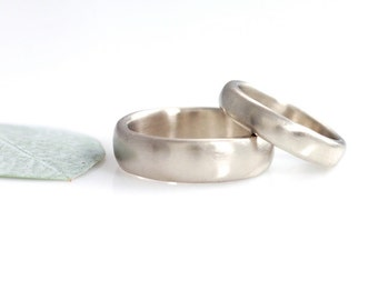 Simplicity Wedding Rings - Palladium/Silver Alloy Wedding Bands - 4mm and 6mm - made to order wedding rings in recycled metal
