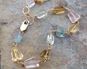 Multi GEMSTONE bracelet with Aquamarine, Citrine, Prasiolite, beer Quartz and Rose Quartz nugget  14k gold filled