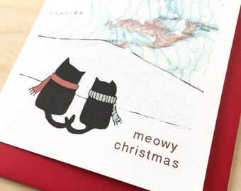 Meowy Christmas Card - Available in singles or boxes