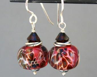 Lampwork Earrings, Glass Earrings, Sterling Silver Earrings, Dangle Earrings, Brown Swarovski Earrings