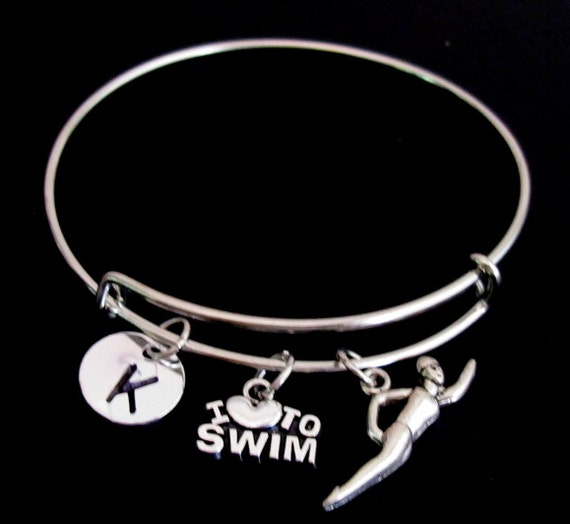 Swimming Bracelet, Swimming Expandable Bangle, Personalized Bracelet, Initial Bracelet,Swimming lover bracelet,Sports Gift Free Shipping USA