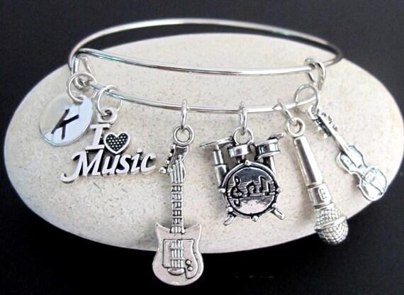 Muscian Gift Music Bangle,Music Bracelet,Musician bangle,Guitar Bracelet,Microphone Bracelet,Violin Bangle,Drum Bracelet Free Shipping USA
