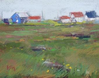 ICELAND Art  Landscape plein air Original Pastel Painting Karen Margulis 5x7
