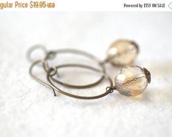 CLOSING SALE Topaz Czech Glass Earrings Vintaj Bronze Handmade Brass Rings Topaz Glass Earrings Topaz Jewelry Gift for Her Ladies Gift