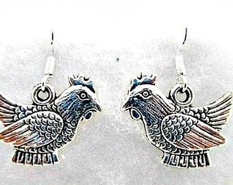 Chicken Charm Pierced Earrings on 925 Silver Wires - Chicken Hen Fowl Charm Dangle Earrings Jewelry Gift