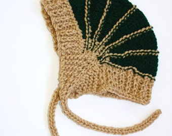 The Aviatrix Baby Hat in Forest Green and Tan,  2-4 years