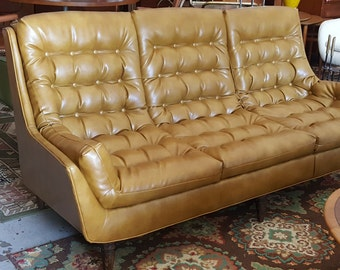 Mid Century Modern Gold Tufted Newly Reupholstered Sofa