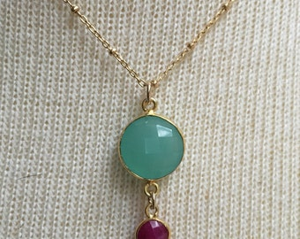 Chalcedony and ruby 14k gold-filled necklace