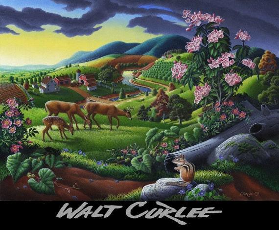 Original Oil Painting, Appalachian Folk Art Country Farm Landscape with Deer, Chipmunk in Meadow, Rural Americana, wildlife