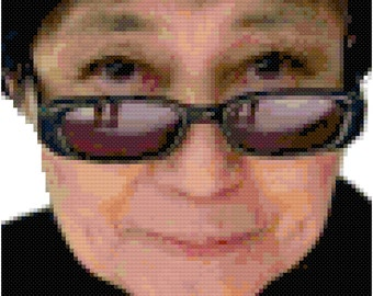 Yoko Ono cross-stitch portrait digital pattern
