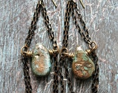 A Golden Hot Mess Earrings - Gold Washed Turquoise Briolettes with Black and Gold Vintage Cut Chain