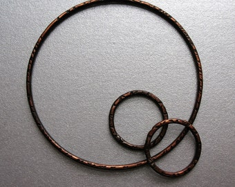 Chestnut Brown Copper Circle Hoop Set - 3 pieces - Patina Artisan Findings