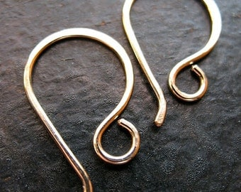 Gold Filled Petite Hammered Ear Wires - 1 pair - 20 gauge