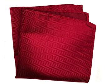 Garnet Red Silk Pocket Square. Elegant woven herringbone pocket silk. Brilliant deep red shift in the light! Men's silk hanky.