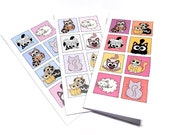 Set of 30 Cute Cat Cards