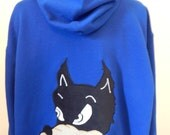 Mens Upcycled Zip Up Blue Hoodie Grateful Dead Dire Wolf OOAK Size XL Extra Large Hippie clothes, hoodie, zip up hoodie, guys hoodie