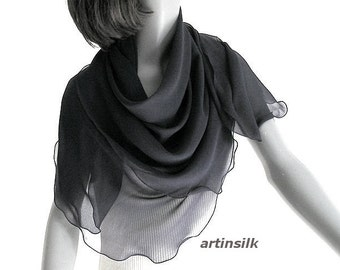 "Black Square Large Chiffon 10mm Scarf, 43"" x 43"" Sheer Silk Square, Ivory Chiffon Scarf, Silk Chiffon Formal Special Occasion, Artinsilk."