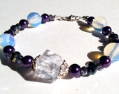 D&D D20 Bracelet with Opalite, Glass Pearls, Sparkling Crystal, and Sterling Silver