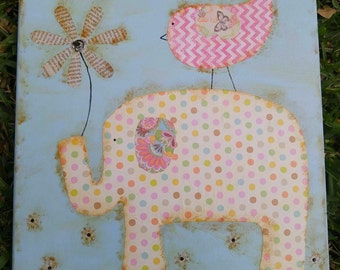 Pastel and Polka Dots Mixed Media Whimsical & Unique Elephant OOAK Painting Folk Art Custom Girl Boy Nursery Children's Room Wall Art
