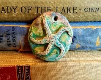 Handmade Ceramic Raku Fired Starfish Pendant Turquoise Blue Green  Rusty Coral Crackle