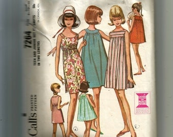 McCall's Junior and Teen Set of Shifts Pattern 7264