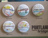 Portland Bridges II One Inch Magnets Set of Five