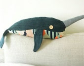 Denim Narwhal Handmade Plush Pillow Doll