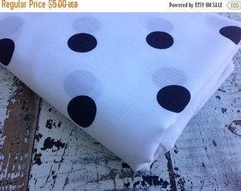 30%OFF SUPER SALE- Polka Dot Fabric-  Polyester Cotton-Navy On White