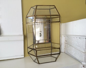 Glass Box Terrarium / Crystal Display / / Mirrored / Candle Holder / Large / by BALOS