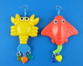 Big Sea Creature Earrings - lobster and sting ray, repurposed toys, statement earrings, orange and green, yellow and blue,  Harajuku Decora