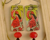 Yankee Girl - Antique Tin Tobacco Tags Niobium Wires Upcycled Repurposed Jewelry Earrings - 10 Year Anniversary Gift