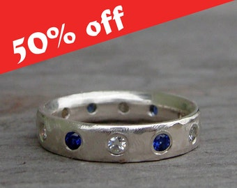 CLEARANCE - Moissanite, Blue Sapphire, and Recycled Palladium Sterling Silver Wedding Band or Stackable Ring, size 4
