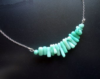 Sea Green Coral Necklace - Sterling Silver and Coral - Sea Green / Aqua / Teal / Lt Green