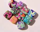 Polymer Clay Bead Clearance Sale Half Price Orphans Misfits and Experiments Polymer Clay Bead Set - 10 beads