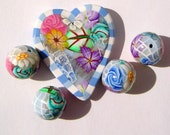 Serenity Blue Victorian Romance  Mother's Day Polymer Clay Bead Set with Focal and 4 Beads (Set One)