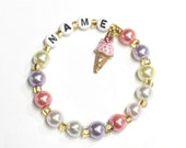 Ice Cream Cone Party Favor Charm Bracelet. Enameled metal charm w rhinestones on personalized name bracelet. Birthday gift or party favor.
