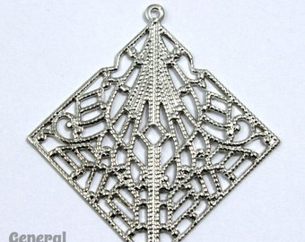 25mm Silver Lacy Square Filigree #FIC055