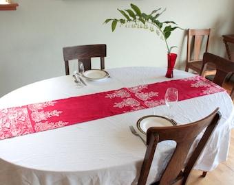 red organic hemp table runner