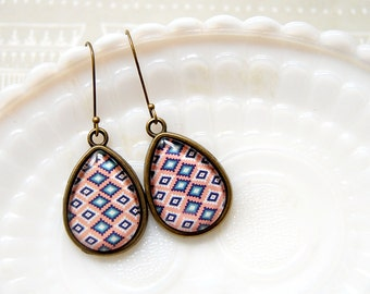 Southwest style modern pastel teardrop dangle earrings- aged brass pink
